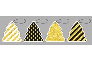 Set of cute vintage glitter price tags shaped as Christmas tree