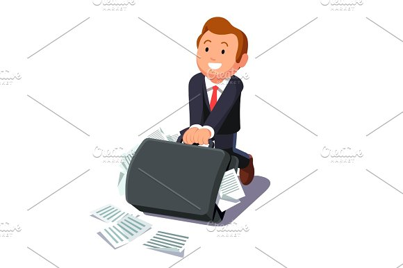 Businessman Dragging Huge Briefcase Full Of Papers