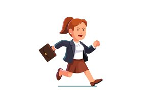 Business woman with a briefcase running fast
