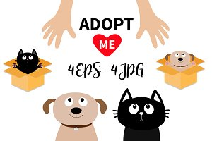 Dog Cat. Human hand. Adopt me set