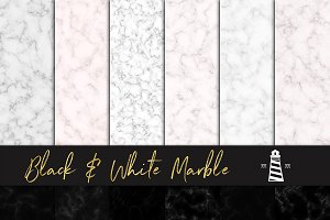 Black & White Marble Paper Textures