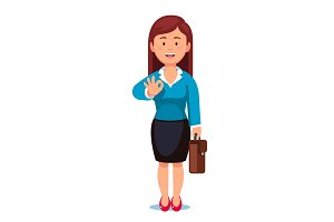 Business woman with a briefcase showing OK gesture