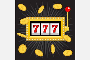 Slot machine. 777 Jackpot. Coins