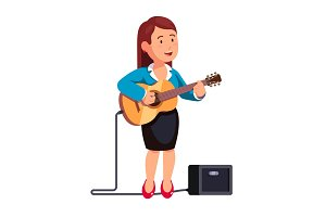 Business woman playing guitar and singing a song