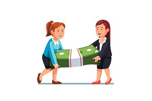 Two business woman carrying huge money bundle
