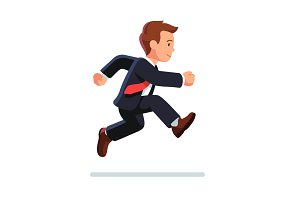 Business man running and jumping