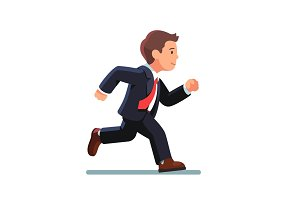 Business man in suit and red tie running fast