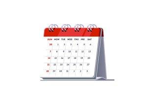Standing month lined spring desk calendar