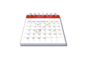 Month lined big calendar with planned work marks