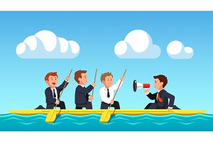 Business man rowing under the guidance of leader