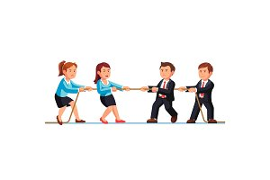 Business man and woman teams competition metaphor