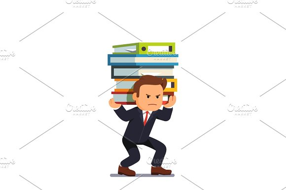 Businessman Holding Pile Of Heavy Documents