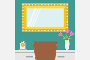 makeup mirror. Table, chair, vase