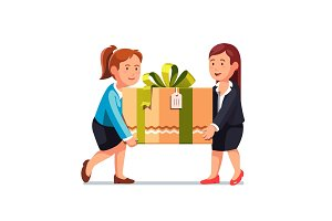 Two business woman carrying big holiday gift box