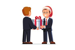 Business man boss giving gift box to employee