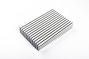 Top view of white box with black racks on white background. Isolated.