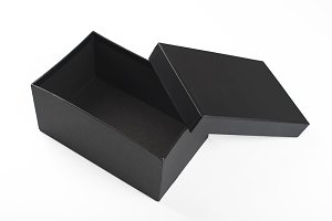 Top view of open black  box with lid on white background. Isolated.