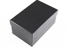 Top view of black box on white background. Isolated.