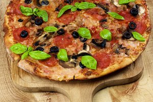 Pepperoni and Mushrooms Pizza