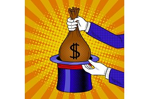 Magician and money from cylinder pop art vector