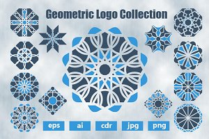 Blue logos templates set