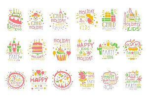 Kids Birthday Party Entertainment Promo Signs Set Of Colorful Vector Design Templates With Festive Symbols