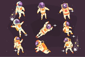 Astronaut In Space Suit Floating In Open Space In Different Positions Set Of Illustrations,
