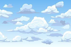 Vector cartoon blue cloudy sky