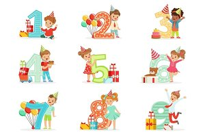 Little Children Birthday Celebration Set With Adorable Kids Standing Next To The Growing Digits Of Their Age