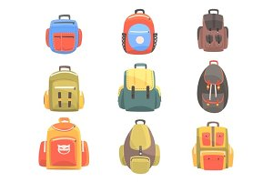 Colorful Cartoon Backpacks Set Of School Bag For Kids Designs