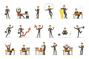 Businessman Work Process Set Of Business Related Scenes With Young Entrepreneur Cartoon Character
