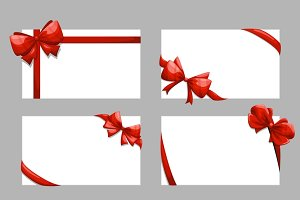 Gift cards with bows vector set