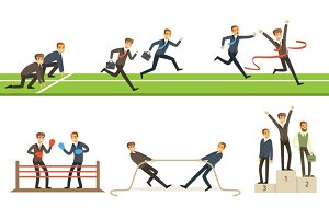 Business Competition Set Of Illustrations With Businessman Running And Competing In Sports