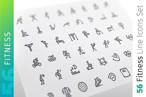 Fitness Line Icons Set