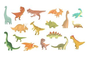 Dinosaurs Of Jurassic Period Set Of Prehistoric Extinct Giant Reptiles Cartoon Realistic Animals.