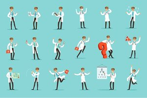 Doctor Work Process Set Of Hospital Related Scenes With Young Medical Worker Cartoon Character