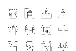 Historical ancient castle icons