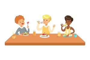 Kids Eating Brekfast And Lunch Food And Drinking Soft Drinks Set Of Cartoon Characters Enjoying Their Meal Sitting At The Table