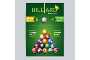 Billiard Tournament Poster Card