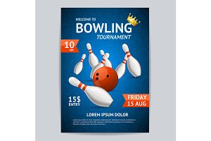 Bowling Tournament Poster Card