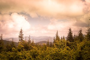 Overcast weather in mountains