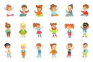 Young Children Dressed In Cute Kids Fashion Clothes, Series Of Illustrations With Kids And Style