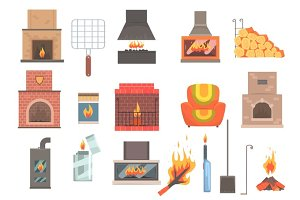 Indoors And Outdoors Fireplaces And Bonfires With Related Attributes And Tools Set Of Vector Cartoon Objects