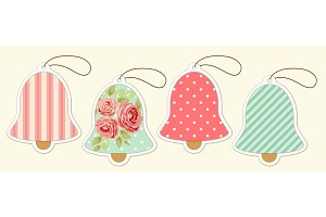 Set of cute vintage Christmas bell price tags in shabby chic style