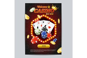 Casino Gambling Game Poster Card