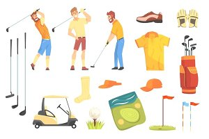 Three Golfers Playing Golf Surrounded By Sport Equipment And Game Attributes Cartoon Vector Illustration.
