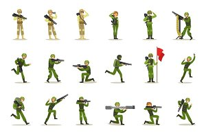 Infantry Soldiers In Full Military Khaki Uniform With Guns During War Operation Set Of Cartoon Land Forces Cartoon Characters