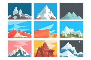 Mountain Peaks And Summits Landscape Vector Illustration Set With Mountains Of Different Geographic Zones.