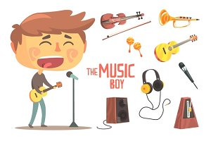 Boy Singer And Musician, Kids Future Dream Professional Occupation Illustration With Related To Profession Objects