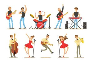 Artists Playing Music Instruments And Singing On Stage Concert Series Of Musicians Cartoon Vector Characters